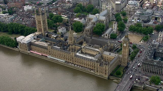 Exterior aerials of the Houses of Parliament and Big Ben in Westminster London
