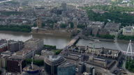 Exterior aerials over central London London Eye Houses of Parliament and Big Ben