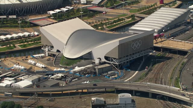 Exterior aerials shots of the Aquatic Centre in the Olympic Park Sky News 2012 Olympics Coverage on July 24 2012 in London England