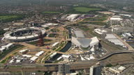 Exterior aerials shots over the Olympic Park highlighting the Olympic stadium the Aquatics centre Sky News 2012 Olympics Coverage on July 24 2012 in...