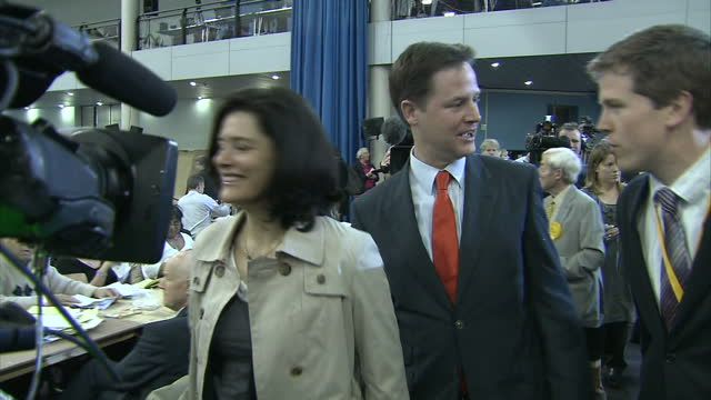 Exterior and interior shots of Nick Clegg and wife Miriam Gonzalez walking into a Sheffield leisure centre the venue of the 2010 election count for...