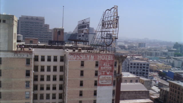 AERIAL Exterior and rooftop of Rosslyn Hotel / Los Angeles, California, Untied States