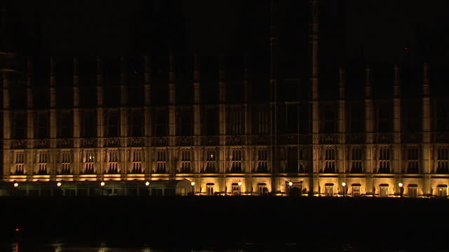 Exterior arty shots at night time of the Houses of Parliament over Westminster Bridge on April 11 2015 in London England