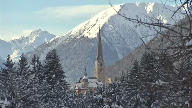 Exterior beautiful scenic shots of Davos snow capped mountains