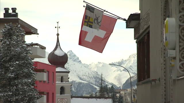 Exterior beautiful shots of snow covered Davos