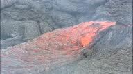 Exterior close up shots of slowly moving molten lava on Nyiragongo volcano on January 20 2002 in Goma Virunga Mountains Democratic Republic of Congo
