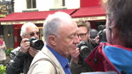 Exterior cutaway shots Ken Livingstone Former Labour Mayor of London speaking to media outside Global Radio offices in Leicester Square after LBC...