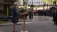 Exterior cutaway shots of Theresa May making an announcement outside Number 10 Downing Street that she has decided to call a snap general election on...