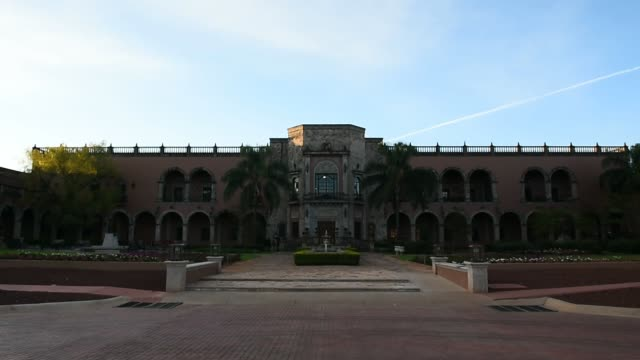 Exterior footage of Hacienda Patrón buildings and architecture inAtotonilco Jalisco Mexico on April 5 2017 Shots wide views of grounds with blue sky...