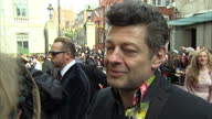 Exterior grab Andy Serkis talking on Empire Awards red carpet about being asked by fans to do 'Gollum' impressions from 'Lord of the Rings' on March...