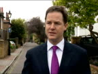Exterior grab Liberal Democrat Leader Nick Clegg speaks on the poor Local Election results for the Lib Dems Nick Clegg Grab on Poor Lib Dem Results...