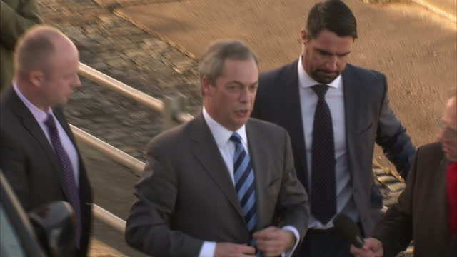 Exterior gvs Nigel Farage UKIP leader arriving at UKIP Spring Conference on February 27 2015 in Margate England