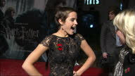 Exterior interview Emma Watson on the red carpet at the premiere of Harry Potter the Deathly Hallows Emma Watson interview on November 11 2010 in...