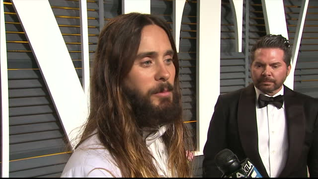 Exterior interview Jared Leto on Eddie Redmayne on February 22 2015 in Los Angeles California