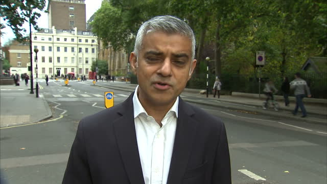 Exterior interview Sadiq Khan Mayor of London speaking on the TCharge why London has the toughest vehicle emissions tax