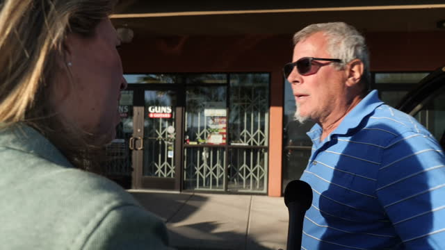 Exterior interview with a Mesquite resident speaking about the impact of the mass shooting attack on a country music festival in Las Vegas and how...