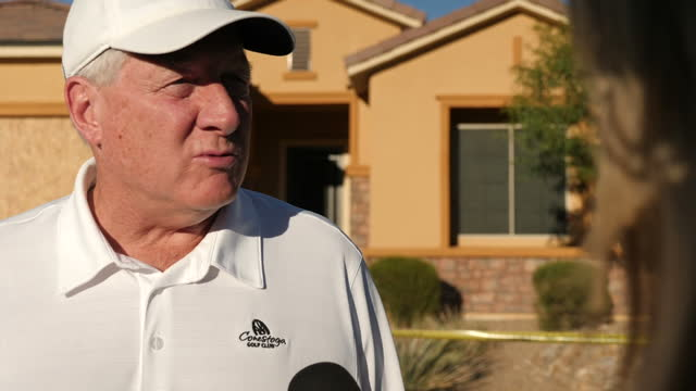 Exterior interview with a resident of the Mesquite retirement community where gunman Stephen Paddock lived speaking about not having known Paddock...