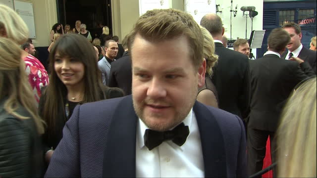 Exterior interview with actor James Corden about his nomination at the TV BAFTAs at Theatre Royal on May 10 2015 in London England