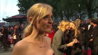 Exterior interview with actress Anne Marie Duff speaking about the feminist demonstration taking place at the premiere of Suffragette and saying that...