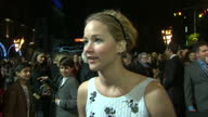 Exterior interview with actress Jennifer Lawrence on the red carpet at the premiere of the new Hunger Games film on November 10 2014 in London England