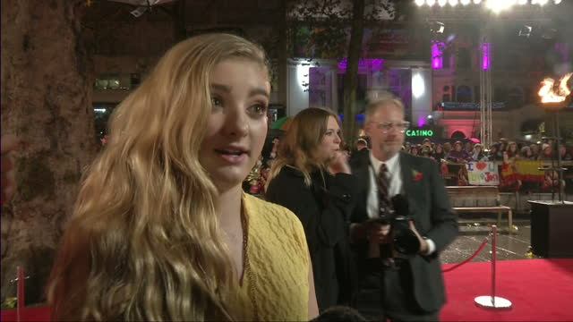Exterior interview with actress Willow Shield speaking about how much she enjoyed acting with Jennifer Lawrence UK Premiere of 'The Hunger Games...