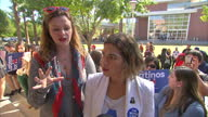 Exterior interview with America Ferrera and Amber Tamblyn speaking about the divisiveness of the US election comparing it to the 'Brexit' vote in the...