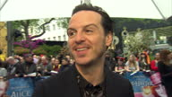 Exterior Interview with Andrew Scott at the European Premiere of Alice Looking Through The Looking Glass on May 10 2016 in London England