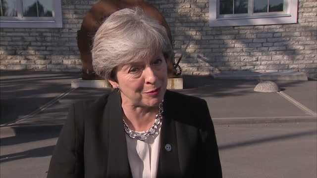 Exterior interview with British prime minister Theresa May on Brexit on 29 September 2017 in Tallinn Estonia