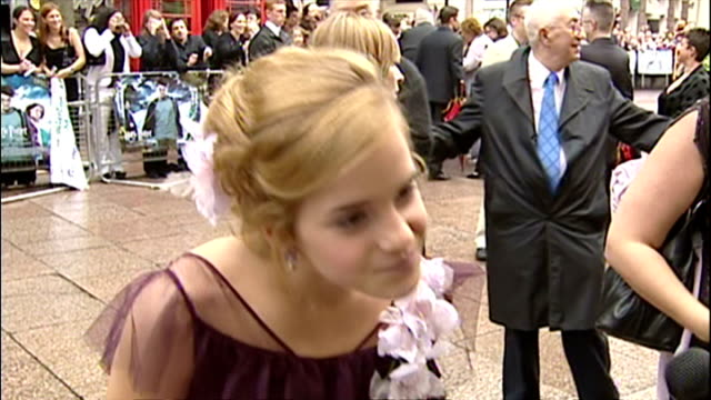 Exterior Interview with Emma Watson at the premiere of Harry Potter and the Prisoner of Azkaban on May 30 2004 in London England
