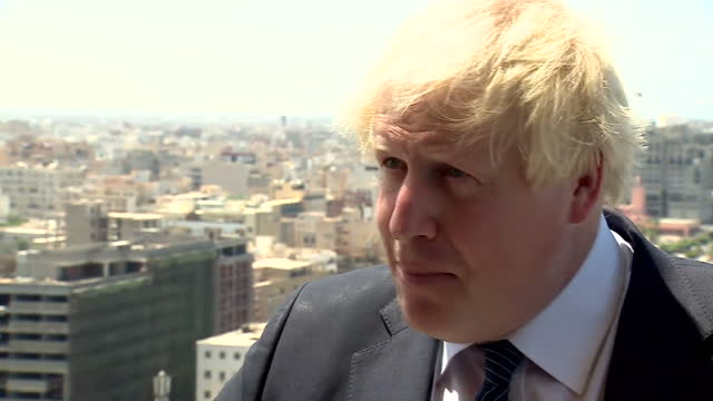 Exterior interview with Foreign Secretary Boris Johnson speaking about the importance of supporting the Libyan government in order to secure its...