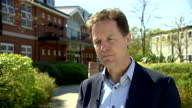 Exterior interview with Lib Dem leader Nick Clegg on the proposals for a mansion tax on April 21 2015 in London England
