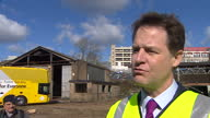 Exterior interview with Liberal Democrat leader Nick Clegg on the plans for a new health campus in Watford on March 31 2015 in London England