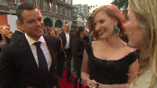 Exterior interview with Matt Damon and Jessica Chastain at the premiere of The Martian on September 24 2015 in London England