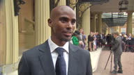 Exterior interview with Mo Farah on receiving CBE for services to athletics Investitures at Buckingham Palace at Buckingham Palace on June 28 2013 in...