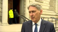 Exterior interview with Philip Hammond MP Chancellor on Brexit and the possibility of a 'coalition of chaos' on 28 April 2017 in London United Kingdom