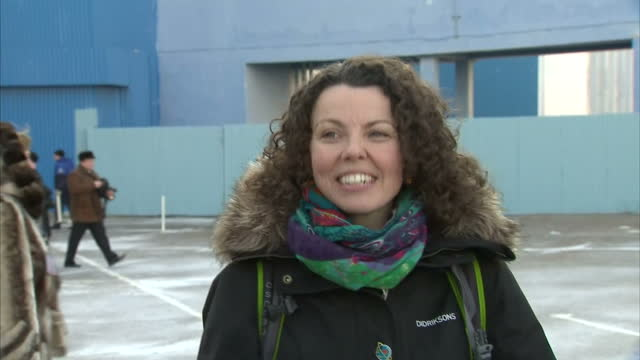 Exterior interview with Rebecca Peake wife of Tim Peake about his departure for the launch pad and that she's very happy they have gotten to this...