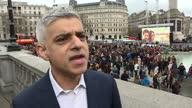 Exterior interview with Sadiq Khan Mayor of London speaking about the UK premiere screening of 'The Salesman' in Trafalgar Square as a declaration...