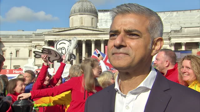 Exterior interview with Sadiq Khan Mayor of London speaking about celebrating the successes of British Olympic and Paralympic athletes and the...
