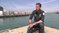 Exterior interview with Sir Ben Ainslie Olympic gold medallist in sailing speaking about The America's Cup and the legacy of sailing after the London...