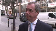 Exterior interview with UKIP Leader Nigel Farage speaking about his views that Britain's racial equality laws should be changed>> on March 12 2015 in...