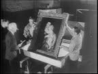 Exterior Metropolitan Museum of Art / interior shot of people admire paintings on walls / Princess Juliana of the Netherlands views paintings /...