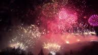 Exterior night shots fireworks Hogmanay firework display climax Edinburgh New Year's Eve Hogmanay Celebrations 2013 New Years Celebrations 2013 on...