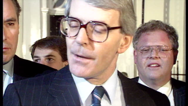 Exterior night shots John Major MP talking to press outside Number 11 Downing Street after winning the Conservative leadership race to become the new...
