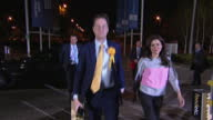Exterior night shots Liberal Democrat Leader Nick Clegg arriving for declaration wife wife Miriam Gonzalez Durantez Miriam Clegg on May 08 2015