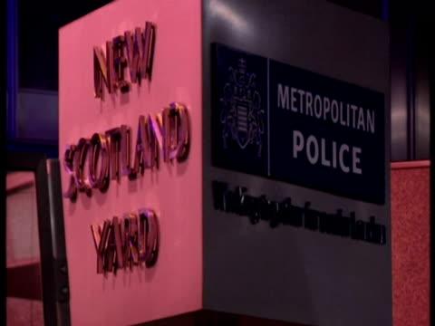Exterior night shots of New Scotland Yard sign rotating Sky News New Scotland Yard Archive on November 15 2009 in London England