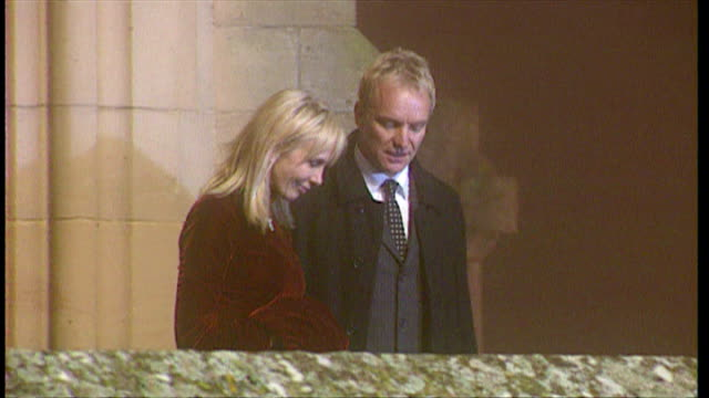 Exterior night shots of Sting Gordon Matthew Sumner CBE and wife Trudie Styler leaving Dornoch Cathedral after Madonna and Guy Ritchie's son Rocco's...
