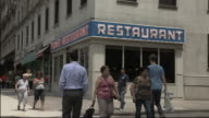 Exterior of diner on New York street, featured in 'Seinfeld'
