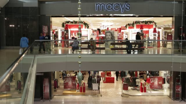 exterior of Macy's store inside a Mall / Macy's logo and signage / holiday decor Macy's Store in Mall at Fair Oaks Mall on November 13 2012 in...