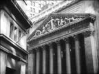 B/W 1929 exterior of NY Stock Exchange on Wall Street / NYC / newsreel