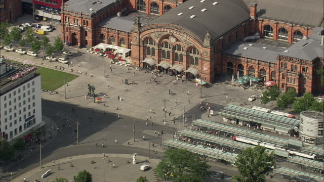 AERIAL Exterior of old railway station, Bremen, Germany